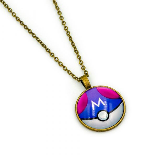 Purple Poke Ball necklace