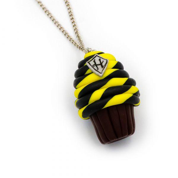 Handmade Hufflepuff Cupcake necklace