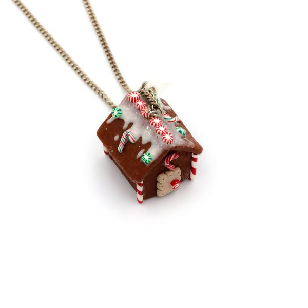 Handmade Xmas Gingerbread House necklace