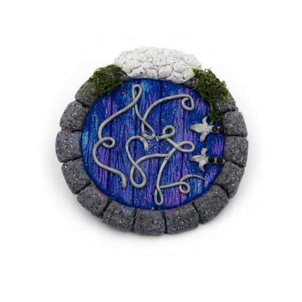 Χειροποίητη καρφίτσα μπλε πόρτα Χόμπιτ