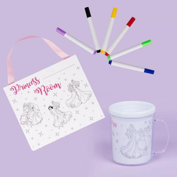 Disney 'Colour Me' Princess Plaque & Mug Gift Set with Colouring Pens