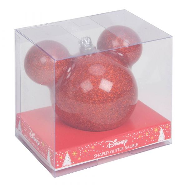 Disney Mickey Mouse Red Glitter Bauble 6cm